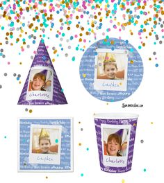 Add a personalized touch to your birthday party with custom photo birthday party supplies. Choose a photo of the birthday boy or girl and upload it on to paper plates, hats, napkins and cups. Choice of color background with a fun retro picture frame style. Happy Birthday is written in fun block print and script in repeated pattern in the background.