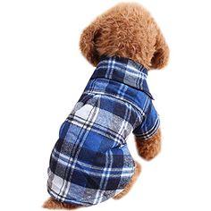 Fashion Plaid Shirt for Pet Dog Cat Clothes (XL, Blue) ** Click image to read more details.