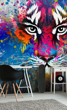 This fierce graffiti tiger wall mural is ideal for any teens bedroom. Bring colour and personality to their dull bedroom with this colourful tiger wallpaper mural in a graffiti style. Find the mural on Wallsauce.com. Prices shown are per square foot.