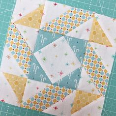 Have you been making the blocks from the #sewsamplerbox by @fatquartershop ??? I'm making all of mine with Cozy Christmas fabric because I want a cute Christmas Sampler Quilt:) This one is Block Two. For those of you who don't know...a block pattern comes on a recipe card each month inside a box filled with quilty goodies!!! ❤️⛄️ #beeinmybonnet #sewcozy #sewingchristmas #iloverileyblake #cozychristmasfabric