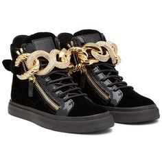 Giuseppe Zanotti Homme Jeweled Chain Velvet High Top Sneakers Design Giuseppe  Zanotti 9d87f7e184e