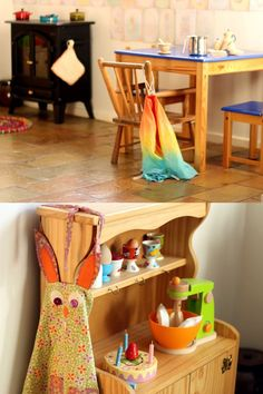 A gorgeous, Waldorf inspired play kitchen space that young children will love.