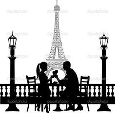 Romantic couple in front of Eiffel tower in Paris have a dinner ...