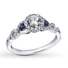 Sapphire Engagement Ring 5/8 ct tw Diamonds 14K White Gold