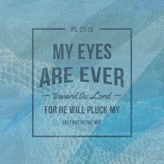 """Psalm 25:15 """"My eyes are ever toward the Lord for He willpluck my feet out of the net."""""""