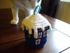 Christmas Tree TARDIS and other free Crochet Christmas Ornament Patterns at mooglyblog.com!