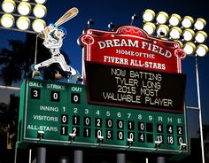 Create A Personalized Baseball Scoreboard. This is perfect for that baseball fanatic. Include and person's name and a team name.  Available at Fiverr for only $5 for a digital download.