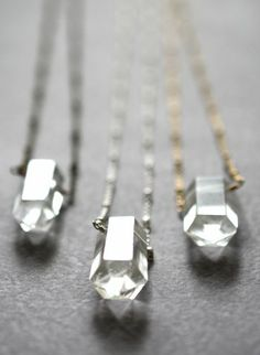 Long rock crystal quartz dagger necklace. Available in three metals. By Kahili Creations of Hawaii...