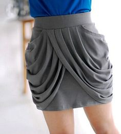 I bet I could sew something like this - Grey Draped At Front Mini Skirt by Chic IT Girl.