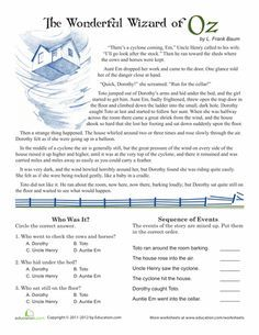 Worksheets: Reading Comprehension: Wizard of Oz