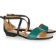 Lanvin Two-tone leather sandals ($215) ❤ liked on Polyvore featuring shoes, sandals, flats, lanvin, zapatos, mint, mint green sandals, strappy sandals, leather ankle strap sandals and ankle wrap sandals