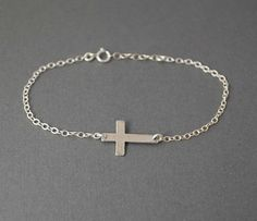 Sterling Silver Sideways Cross Bracelet Horizontal by jennijewel, $21.00