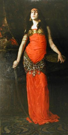 Salome (1899). F. Luis Mora (American, 1874-1940). Oil on canvas. Mora's full-length depiction of Salome is the most provocative of his work. Salome has been a popular subject, painted by artists of the past including Botticelli, Titian, and...