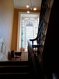 Beautiful staircase and stain glass window as you go to the rooms at Calverley Arms, Calverley, Pudsey, Leeds. Stained Glass Windows, Leeds, Lodges, Great Places, Favorite Things, Arms, Stairs, Decorating, History