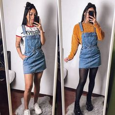 overall dress outfit denim Everyday Casual Outfits, Edgy Outfits, Retro Outfits, Cool Outfits, Cute Concert Outfits, Concert Outfit Fall, Jean Dress Outfits, Denim Outfit, Skirt Outfits