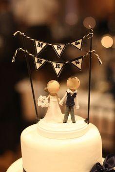 Custom Wooden People Wedding Cake Topper