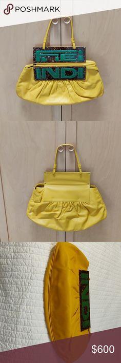 decd83da4c28 Fendi Yellow Leather Clutch Handbag Fendi yellow leather clutch handbag  with tortoise shell logo plaque