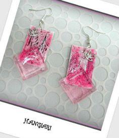 Paire de boucles d'oreilles rose  rectangulaire carrée élégantes originales H.ANGIARI: Créatrice-designer