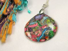 Rainbow jasper and pyrite teardrop gemstone necklace