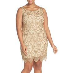 Plus Size Women's Pisarro Nights Beaded Sheath Dress ($168) ❤ liked on Polyvore featuring plus size women's fashion, plus size clothing, plus size dresses, gold, plus size, 1920s inspired dresses, roaring twenties dresses, beige sheath dress, 1920s style dresses and plus size 1920s dress