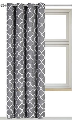 Printed Blackout Room Darkening Printed Curtains Window Panel Drapes - (Grey Color Pattern) 1 Panel - 52 inch wide by 84 inch long Printed Pattern - By Utopia Bedding