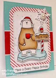 Made using MFT Cool Day Stamps & Dienamics. Rounded Stitched Rectangle Die-namics, Let It Snowflake and Blueprints.  More info on my blog - http://kittyskrafty.blogspot.co.uk/2014/11/beary-happy-birthday.html