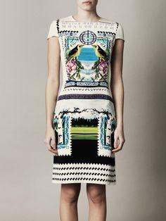 Rodrizo bird fitted dress