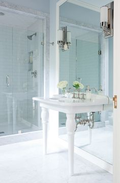 Cottage Beth Haley Interior Design Nashville The Blue And White Color Palette Evokes A Feeling Of Serenity While Full Length Mirror Nickel Accents