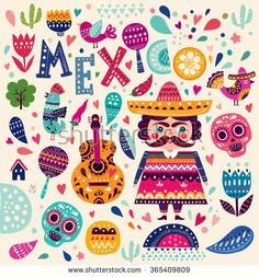 Bright colorful stylish vector illustration about Mexico. Pattern with symbols of Mexico: skull, flowers, guitar, maracas, bird. Original illustration and design.