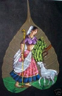 how to - painting on a peepal leaf