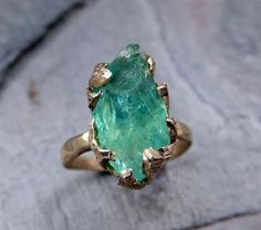 Raw Uncut Sea Green Apatite Rough 14k yellow gold Gemstone Cocktail statement or Stacking Ring on Etsy, $400.00