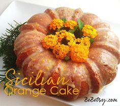 Sicilian Orange Cake: could put some sort of tall greenery or green candle in the center to look like a pumpkin.