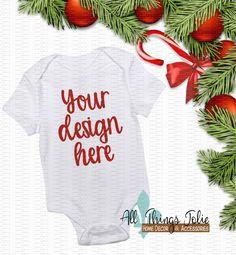 Baby Bodysuit Mockup Photo - White Short Sleeve Bodysuit Christmas Mock-Up Image by AllThingsJolie78 on Etsy https://www.etsy.com/listing/494513769/baby-bodysuit-mockup-photo-white-short