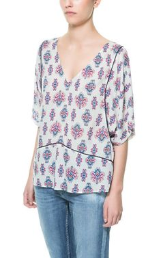 Ethnic Printed Top by Zara