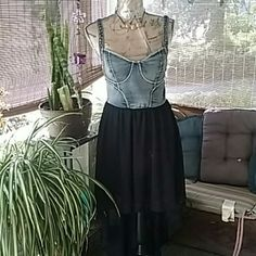 Dress NWT Denim & Chiffon Hi-Low dress. Shoulder straps have hard wear as well as back.  very nice for a summer night out or taking a cruise, it'd a must have. Foreign Exchange Dresses High Low