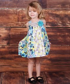 Look at this #zulilyfind! Turquoise & Lime Confetti Bow Dress - Infant, Toddler & Girls by Jelly the Pug #zulilyfinds