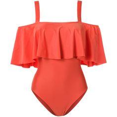 Adriana Degreas ruffled swimsuit ($700) ❤ liked on Polyvore featuring swimwear, one-piece swimsuits, frilly swimsuit, orange swimsuit, flounce bathing suits, ruffle one-piece swimsuits and frilly bathing suit