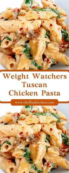 This Weight Watchers Tuscan Chicken Pasta is an easy weeknight meal! Weight Watchers Crockpot pasta recipes are easy to cook, and my Weig. Weight Watchers Pasta, Weight Watchers Casserole, Weight Watcher Dinners, Skinny Recipes, Ww Recipes, Cooking Recipes, Healthy Recipes, Dinner Recipes, Dinner Ideas