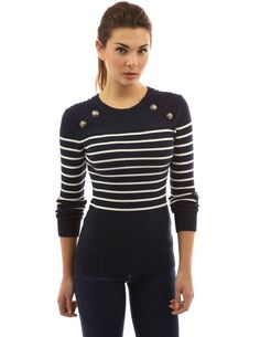 PattyBoutik Women's Crewneck Striped Military Jumper (Ivory and Black 12)