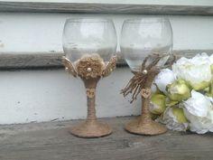 Large rustic wedding glasses, Mr and Mrs toasting flutes, burlap wedding bride and groom glasses on Etsy, $32.00
