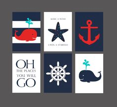 50% OFF.Nautical Nursery Whale nursery art print, nautical Baby shower gift Red Navy blue nautical decor set of 6 prints, 5x7 PRINTABLES