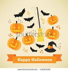 Happy Halloween card - stock vector