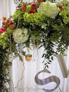 Flowers, Pink, Green, Orange, Ceremony, Hydrangea, Romantic, Arch, Crystals, Arches, Gardenpartytogocom, Altar