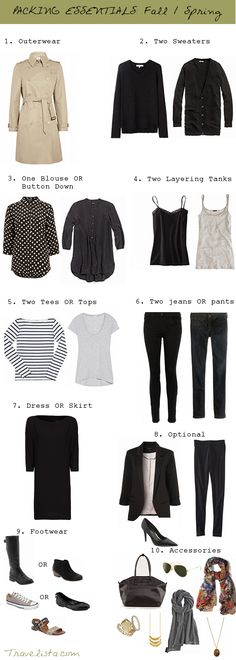 Great packing idea! Pack for a week: two tees, two tanks, a blouse, a sweater or two, two pants, a skirt or dress, and a jacket.