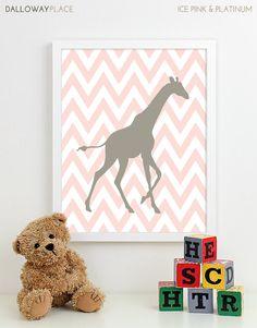 Girl Nursery Art Print Girls Room, Girl Wall Art Baby Girl Nursery Decor Bedding Safari Chevron Giraffe - One 8x10