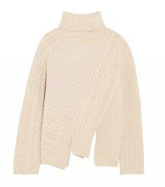 Joseph Asymmetric Contrast-Knit Wool Turtleneck