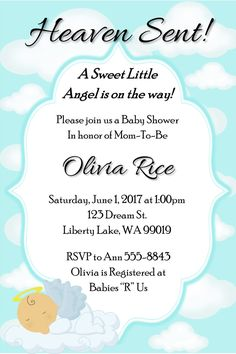 Items similar to Heaven Sent Baby Shower Invitation on Etsy Boy Baby Shower Themes, Baby Boy Shower, Liberty Lake, Baby Shower Winter, Heaven Sent, Baby Shower Invitations For Boys, Kindergarten Worksheets, Babyshower, How To Plan