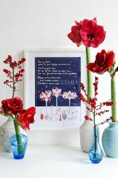 Bloemlezing de Amaryllis.  Illustratie: Studio Sjoesjoe. Dichter: Kim Triesscheijn. #bloemen #flowers #bloemlezing #amaryllis