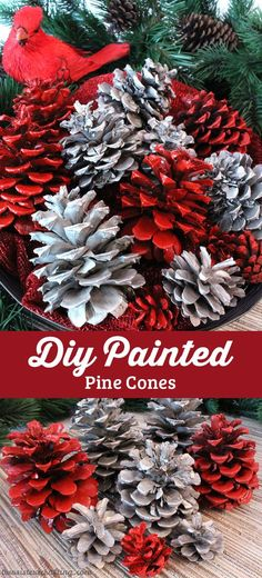 Our Diy Painted Pine Cones Are A Great Christmas Craft That Results In A Gorgeous Christmas Decoration Or A Fabulous One-Of-A-Kind Diy Christmas Gift - Take Your Pine Cones To The Next Level With Our Step-By-Step Instructions. Tail Us For More Fun Chris Silver Christmas Decorations, Diy Christmas Gifts, Christmas Projects, Christmas Holidays, Christmas Wreaths, Christmas Ornaments, Pine Cone Christmas Decorations, Outdoor Christmas, Grinch Christmas