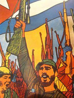PÓSTER TRIUNFO DE LA REVOLUCION CUBANA 1959 Political Images, Political Posters, Viva Cuba, Super Pictures, Communist Propaganda, Cuban Art, Socialist Realism, Communism, America